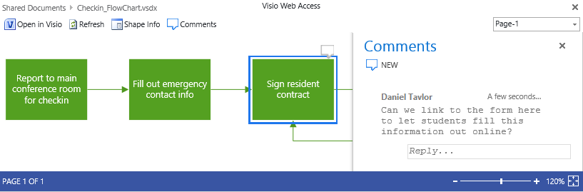 Comments in Visio Services