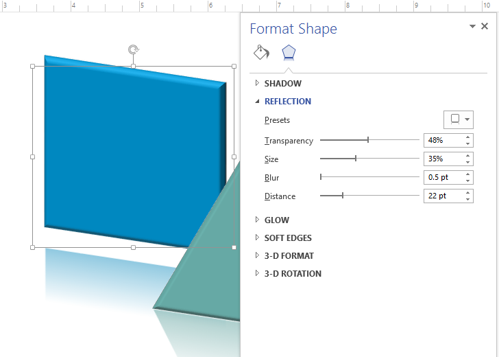 Applying effects to a shape