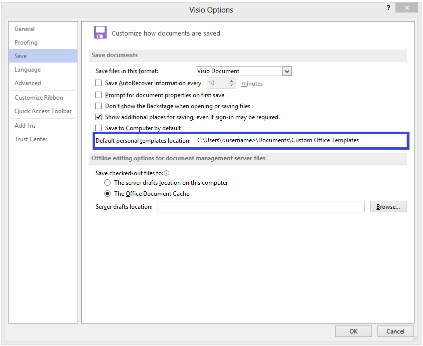 Visio start custom personal templates dialog