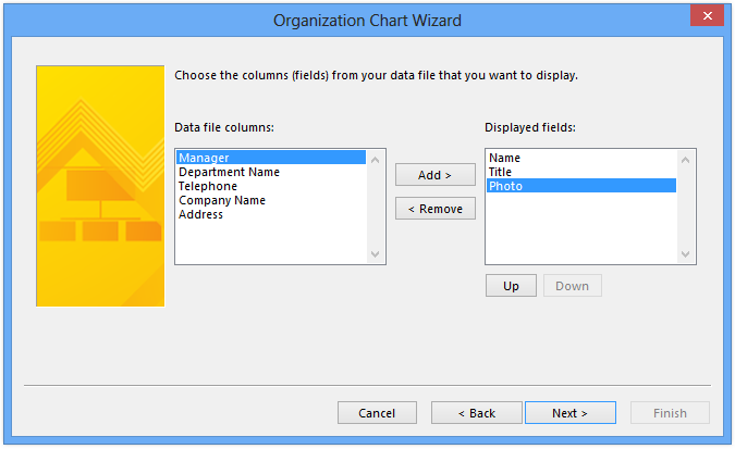 Visio org chart wizard photo import via Exchange