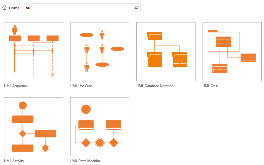 Visio start search results