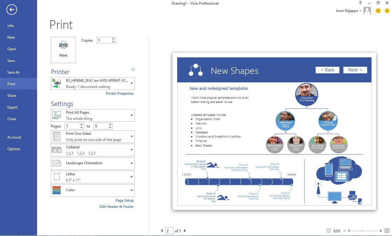 Printing in visio made easier microsoft 365 blog the print tab malvernweather Choice Image