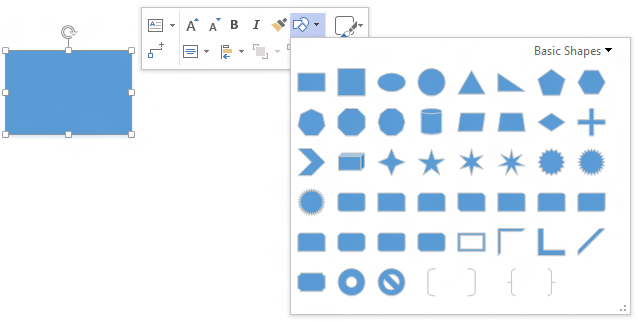 Change Shape on the Visio Floatie menu
