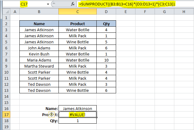 Don't use Excel SUMPRODUCT function to sum text