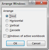 Using the Excel ribbon to arrange your windows.