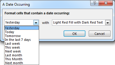 Using conditional formatting to highlight dates in Excel