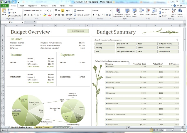 image of family budget template