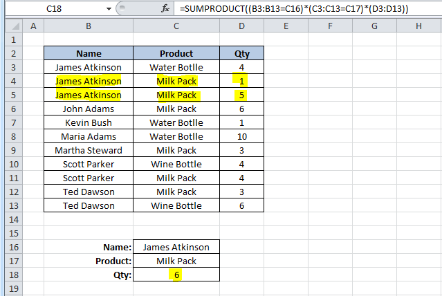 SUMPRODUCT function in Excel 2010