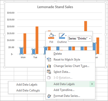 Adding rich data labels to charts in excel 2013 microsoft 365 blog once the series is selected i can right click any column to pull up the context menu then click the add data labels entry ccuart Image collections