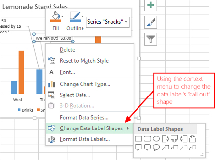 format data labels task pane excel