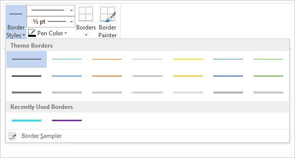 Screenshot showing the gallery of border styles