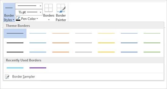 Screenshot of table border menu