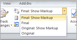 Display for Review drop-down list on ribbon.