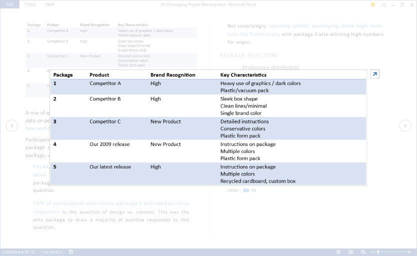 Screenshot of table being zoomed to a larger size in reading mode