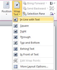 Wrap text menu on Format tab