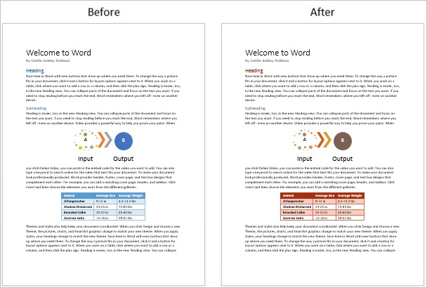 Screenshot of a document before and after a theme color change