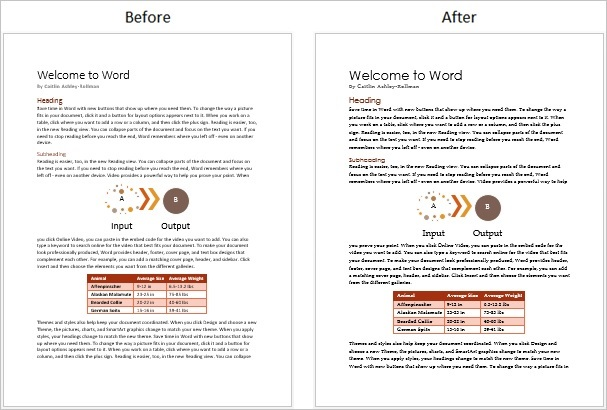 Screenshot of a document before and after a theme font change