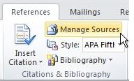 Manage Sources command