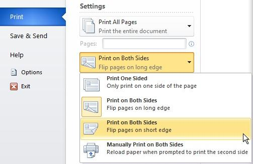 how to create a two sided document in word