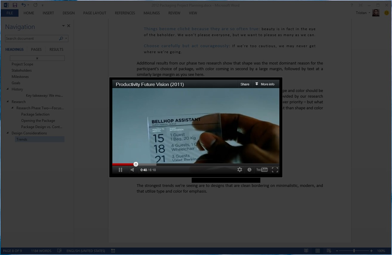 Screenshot of an embedded video playing in Word