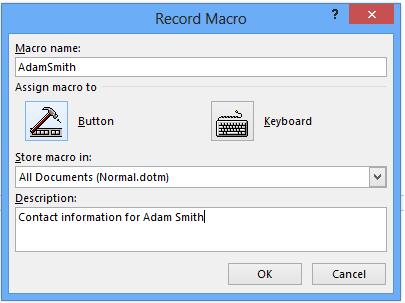Macro Recording Microsoft Word Office 365