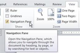 Navigation Pane check box on the ribbon