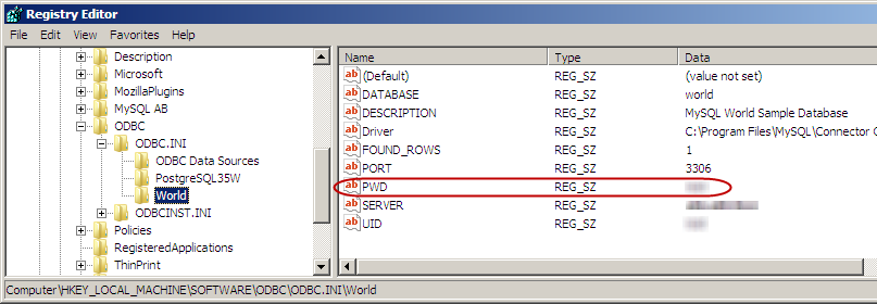 Password saved as plain text in the system registry