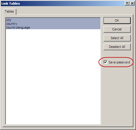 Save password check box in Link Tables dialog box