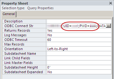 Property Sheet for a query, displaying the ODBC Connect Str property