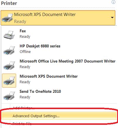 Printer settings dialog box
