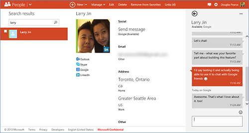 Outlook.com People page