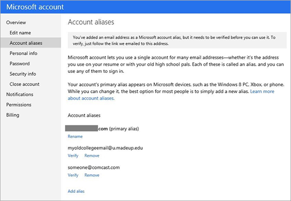 outlook com gets two step verification sign in by alias and new