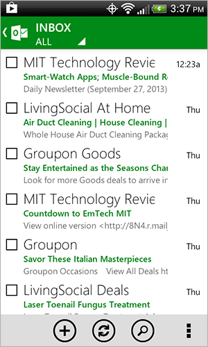 Android app green inbox color