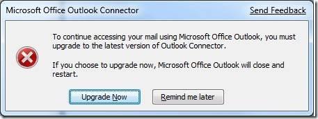 Outlook Connector installation dialog box