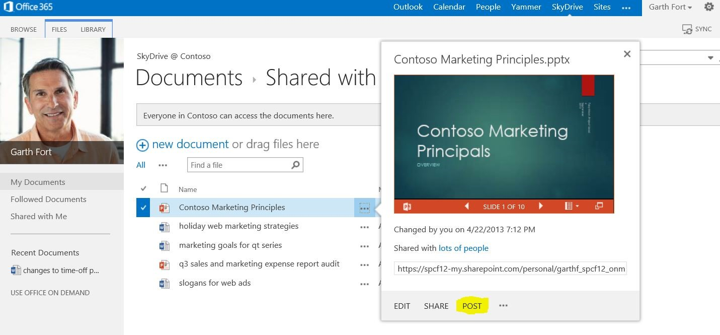 Starting yammer conversations from documents stored in sharepoint online microsoft 365 blog - Yammer office 365 integration ...
