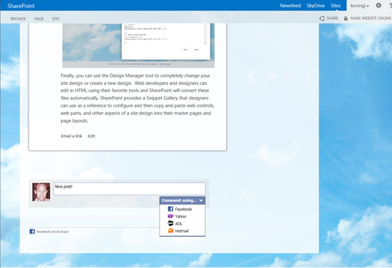 Blogs with the Facebook comments social plugin