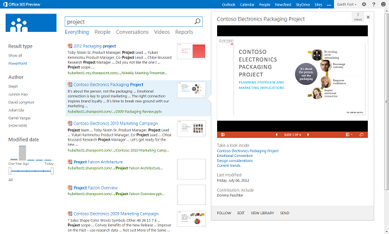 The new Search interface and hover panel.