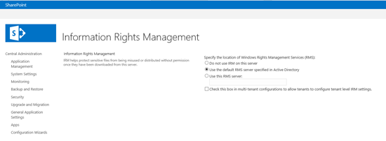 Enabling IRM against an RMS Server in a SharePoint farm