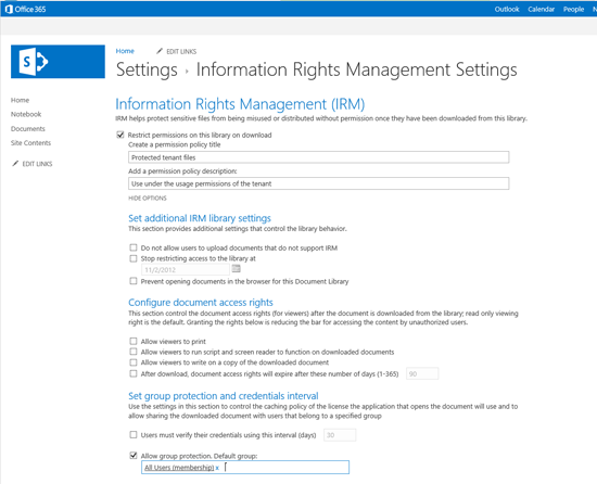 Group protection as part of the advanced IRM settings on document libraries