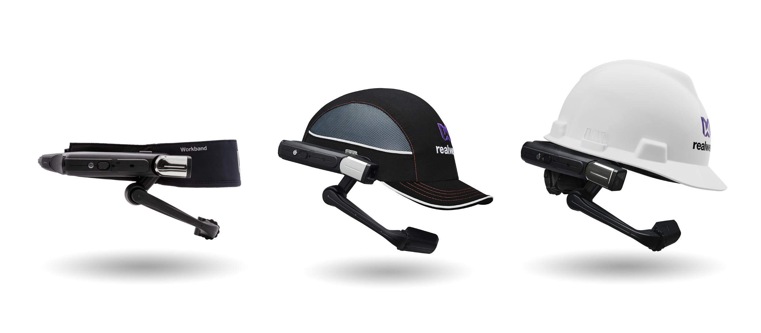 Drei Beispiele für RealWear-Headwearlösungen, die in Microsoft Teams integriert sind.