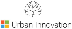 Urban innovation logo with leaf