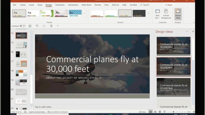 Screenshot of PPT slide with commerical airplane and demonstrating use of suggested text using Designer Perspective Engine