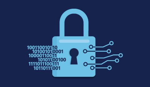 Blue illustrated lock with binary code and nodes