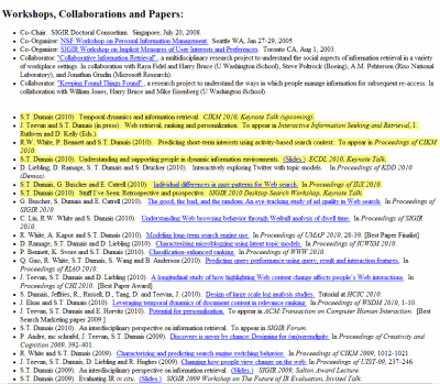Screenshot of a personal home page with new content in a long list highlighted
