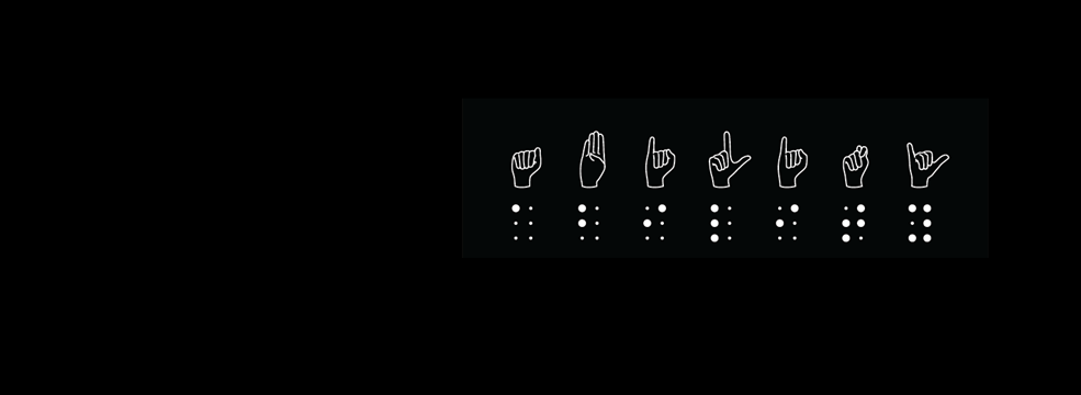 Ability spelled out in American Sign Language symbols and braille