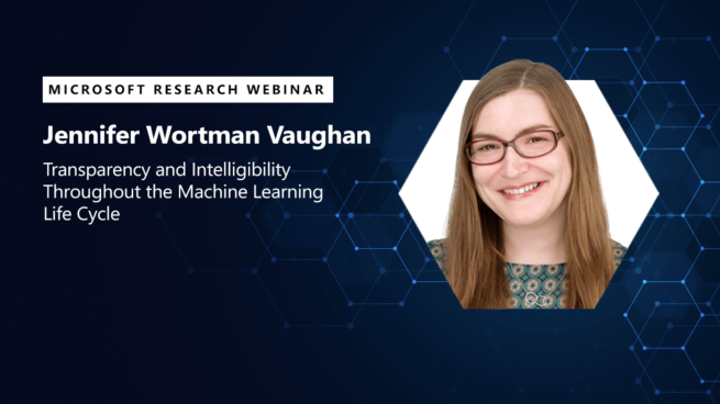 a picture of jenn wortman vaughn next to the title of her webinar