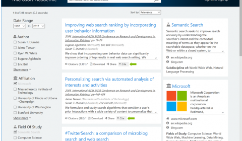 New Microsoft Academic feature: Citation list