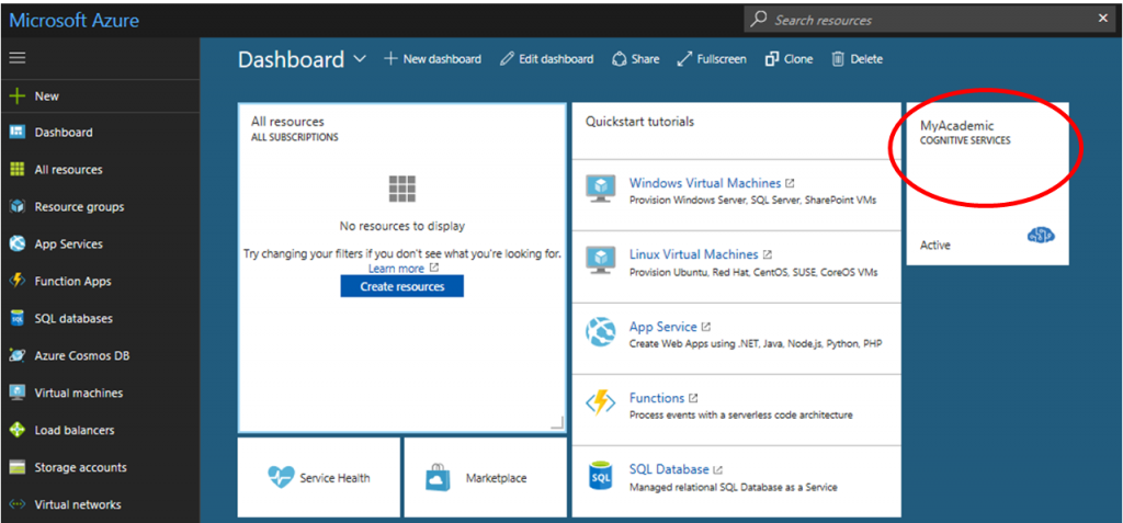 Screen of Azure subscriptions showing the new dashboard.