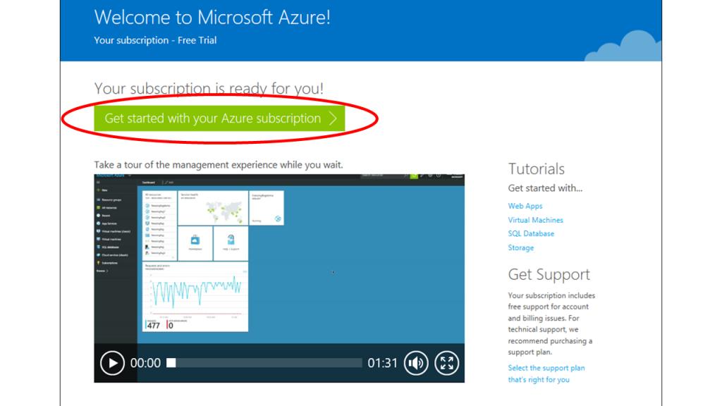 Azure get started screen