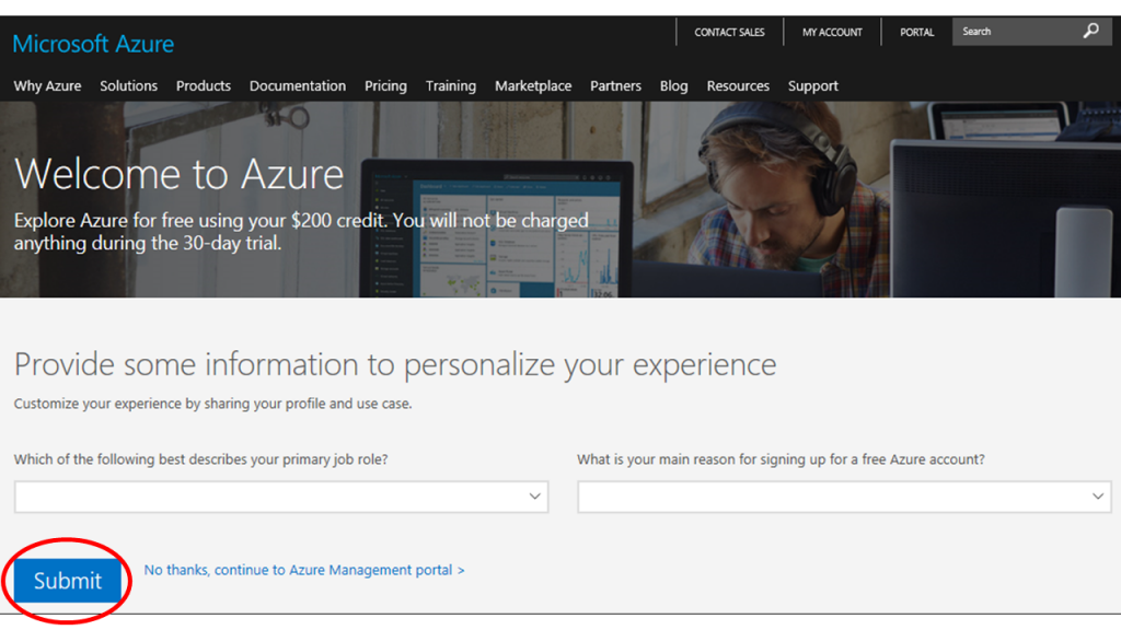 Azure ssubscription start screen